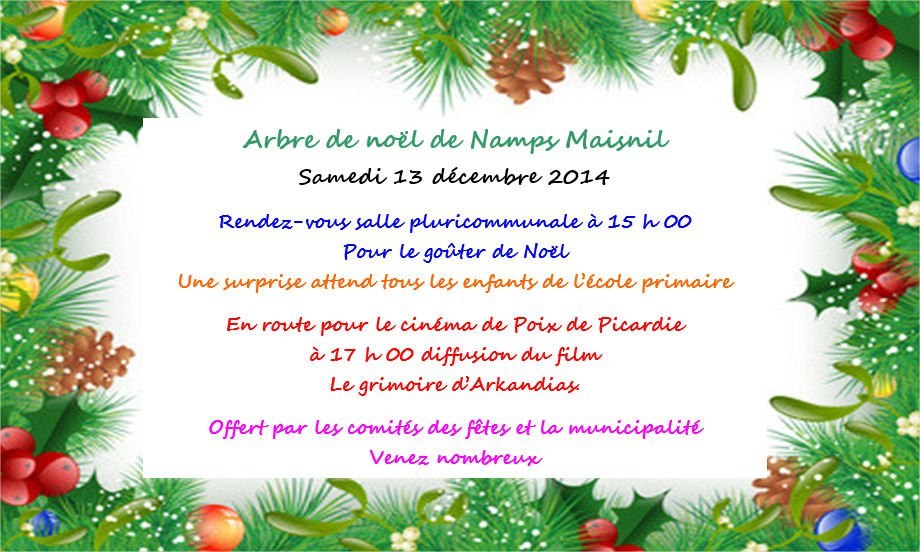 Arbre de nol invitation 2014 commune de namps maisnil affiche stopboris Choice Image